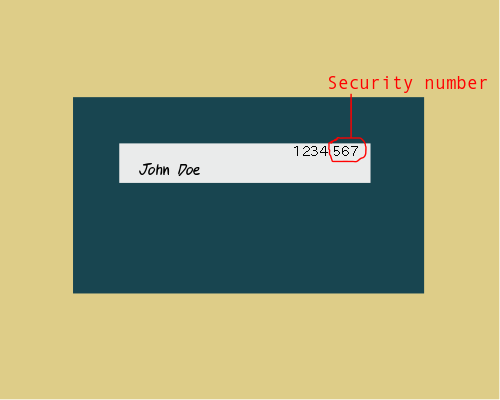 Security number/security code. The last three digits of the number on the back of your card.