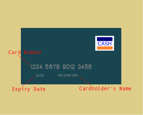 Card number, Expiry date, Cardholder's name